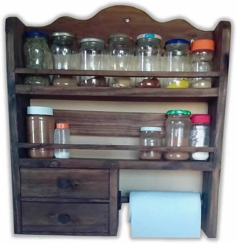 Especiero 2 estantes con 2 cajones y porta rollo en madera