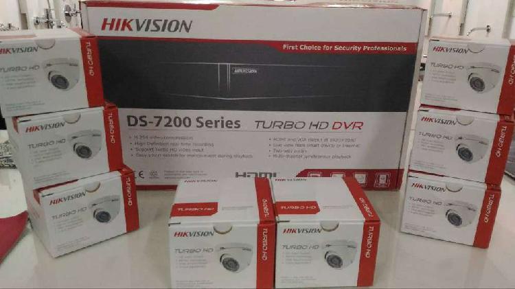 Kit hikvision dvr 8 canales hd camaras, fuente, balunes,todo