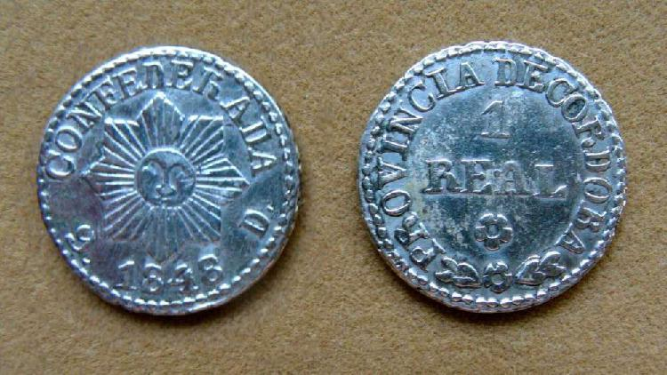 Moneda de 1 de real de plata pcia. de córdoba, argentina