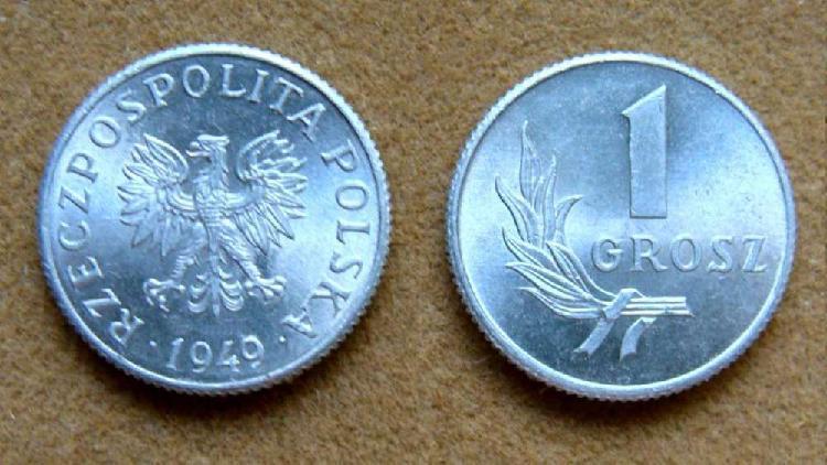 Moneda de 1 groszy polonia año 1949