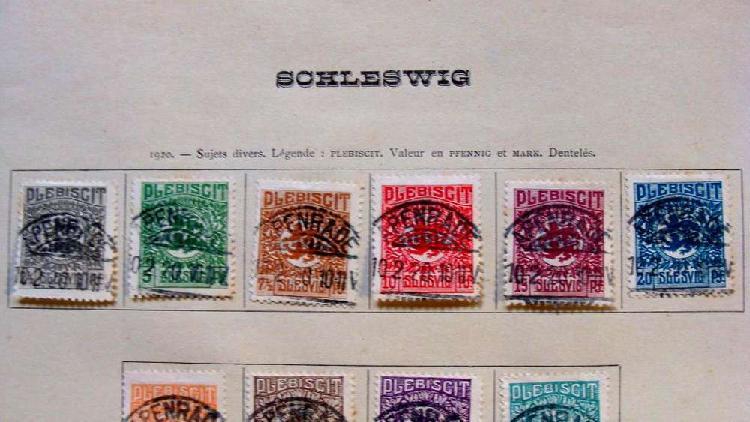 Sellos postales del ducado de schleswig alemania dinamarca
