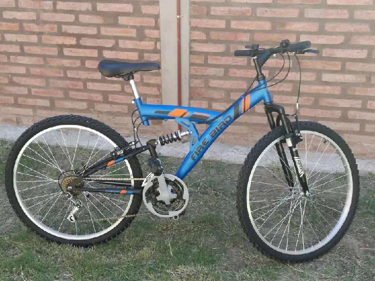 Bicicleta fire bird, doble suspensión + inflador y luces