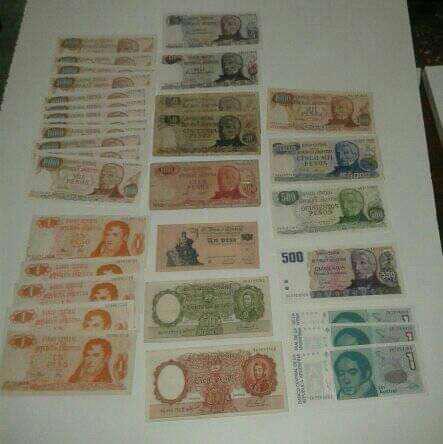 Coleccion billetes antiguos argentino unicas. correlativos.
