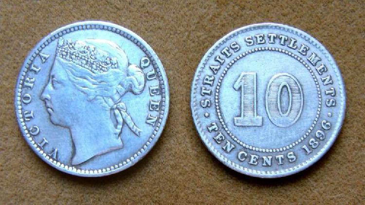 Moneda de 10 cent de plata colonias británicas del estrecho