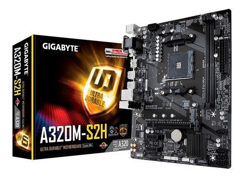 Mother gigabyte ga-a320m-s2h am4 amd 7ma ryzen hdmi vga dvi