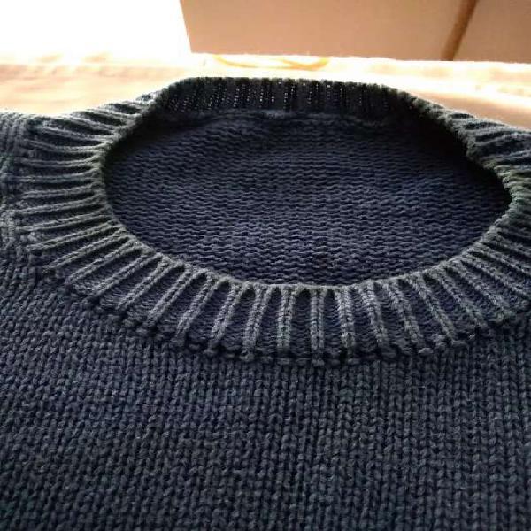Sweater hombre hilo de algodón color azul