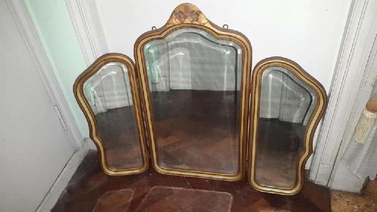 Antiguo espejo triptico estilo frances luis xv