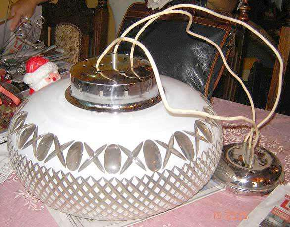 Colgante de cristal tallado al ácido diseño retro vintage