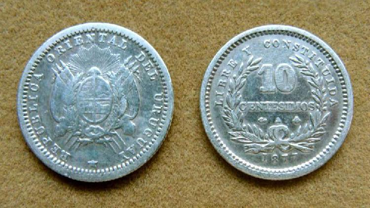 Moneda de 10 centésimos de plata uruguay 1877