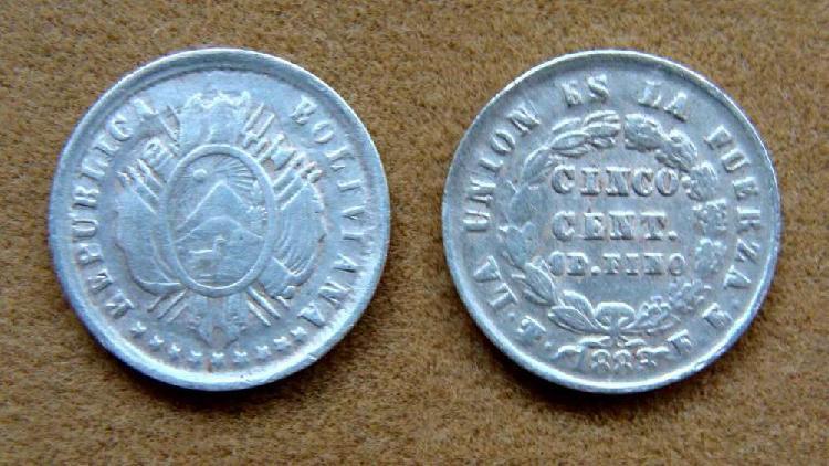 Moneda de 5 centavos de plata bolivia 1883