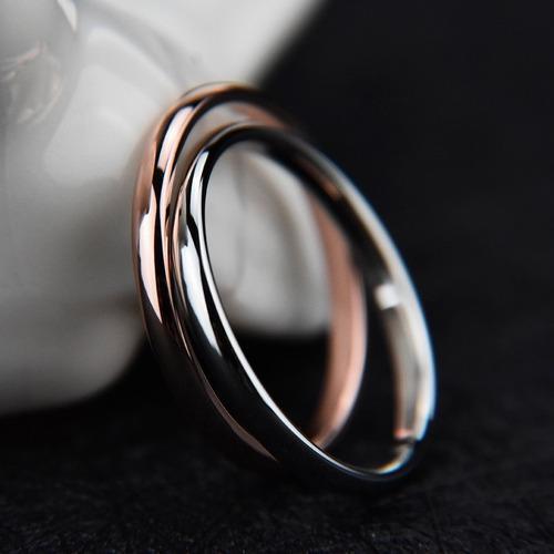 Par anillos alianzas ultra-finas color oro rosa & blanco/3mm