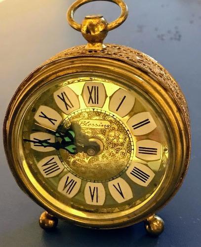 Antiguo reloj aleman bressing despertador bronce funcionando