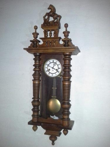 Antiguo reloj de pared a pendulo gustav becker aleman