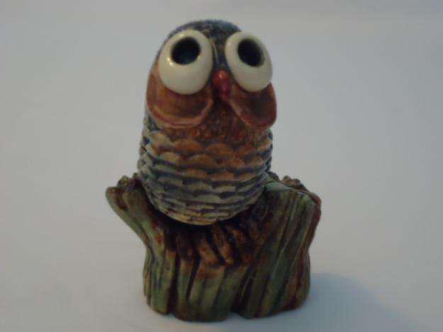 Escultura cerámica lechuza chica pieza única colec. aldo