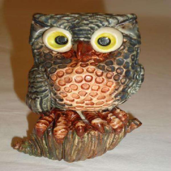 Escultura cerámica lechuza grande pieza única colec. aldo