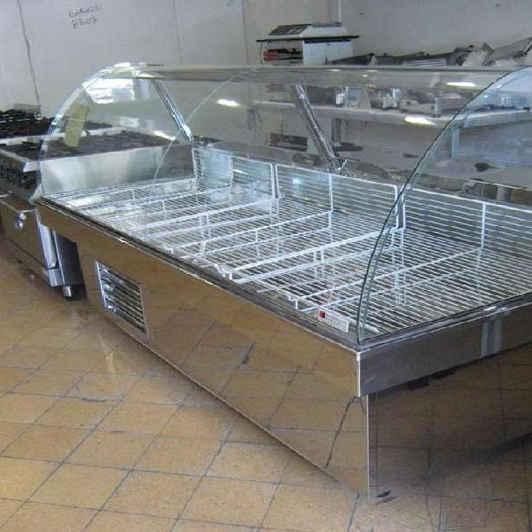 Heladera exhibidora batea de acero con vidrio curvo de 2