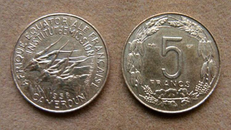 Moneda de 5 francos áfrica ecuatorial francesa camerún