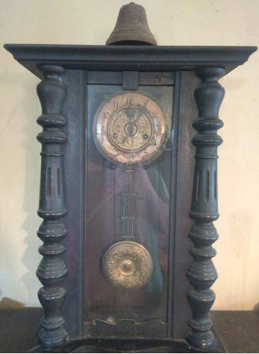 Reloj antiguo de pared péndulo cuerda campana francia
