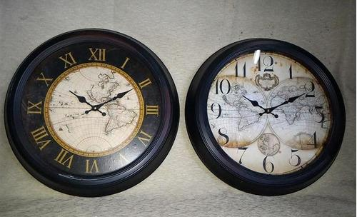 Reloj pared de chapa redondo 47cm diametro!! mapa antiguo