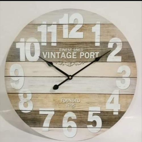 Reloj pared grande madera vintage port retro antiguo quilmes