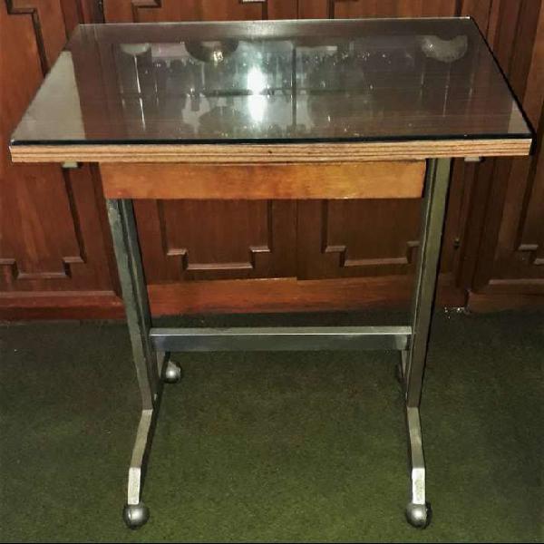 Mesa para maquina de escribir con cajón y vidrio (opcional)
