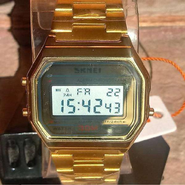 Reloj skmei diseño retro dorado nuevo