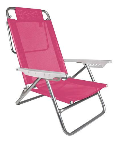 Reposera sillon playa camping 6 pos. aluminio reforzada mor