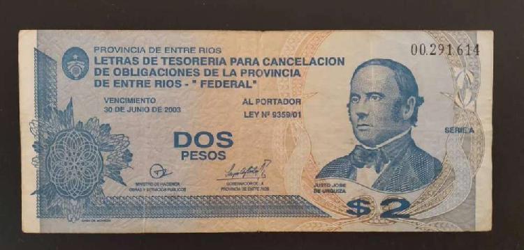 Bono Entre Ríos / Federal de $ 2 pesos Billete
