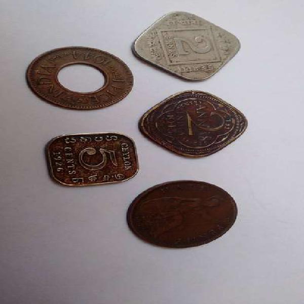 Antiguas monedas britanicas india ceylan