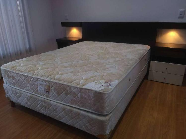 Juego de cama madera mdf negro y sommier 2 plazas