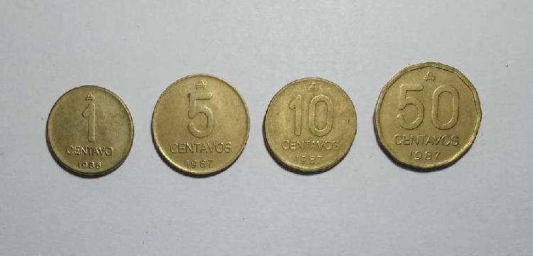 Lote monedas 1 5 10 y 50 centavos austral 1986/7