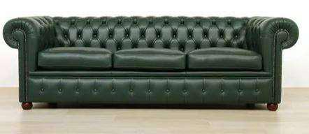 Sofa chester 3 cpos simil, cuero , verde.