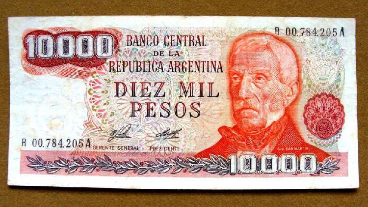 Billete de 10.000 pesos reposición argentina 1976