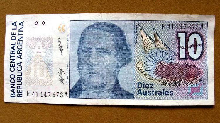Billete de 10 australes reposición argentina 1987