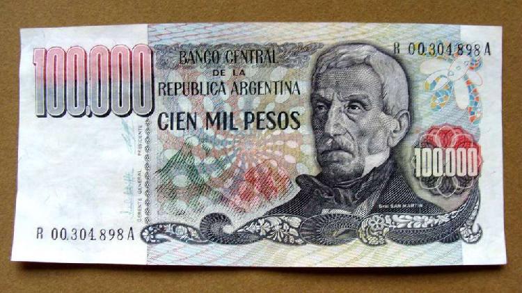 Billete de 100.000 pesos reposición argentina 1980