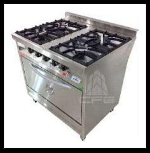 Cocina industrial esmerilada de 4 hornallas rovesco