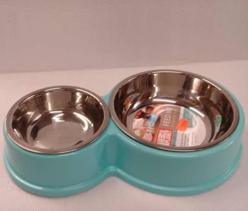 Comederos de acero doble con revestimiento para perro chico