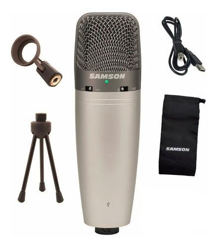 Microfono condenser usb samson c03uc con accesorios para pc