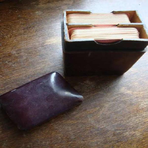 Porta mazo de cartas antiguo dos mazos de poker