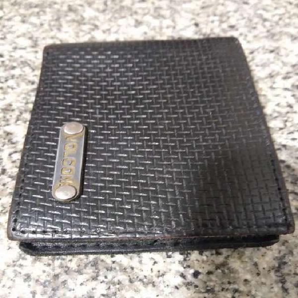 Billetera de cuero negro volcom original