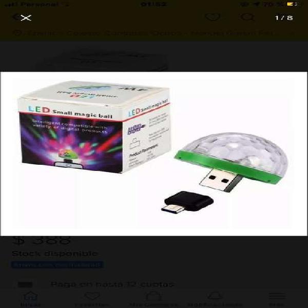 Bola led audioritmica usb-micro usb