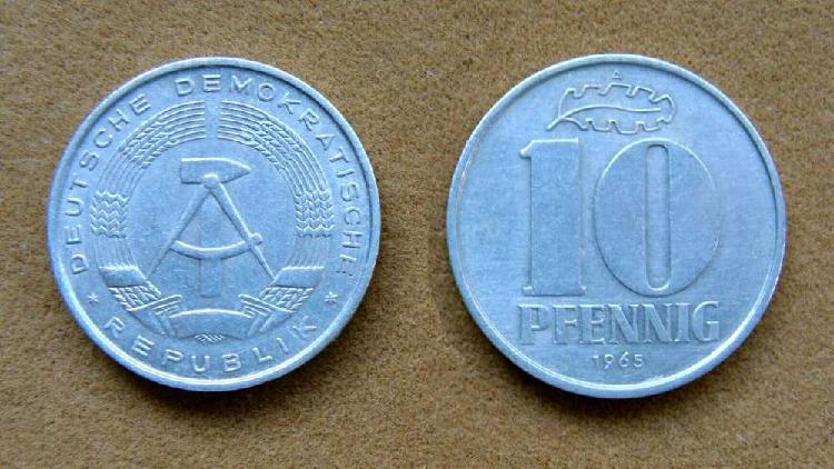 Moneda de 10 pfennig alemania democrática 1965