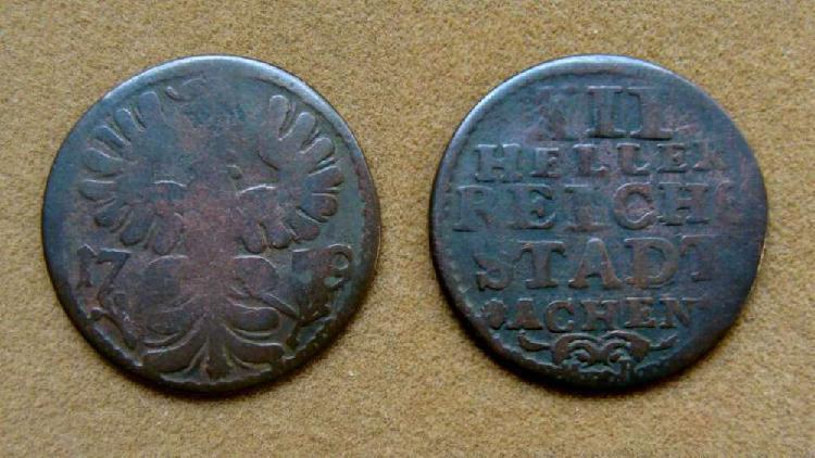 Moneda de 12 heller aachen, alemania año 1759