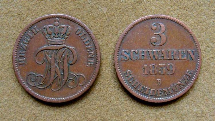 Moneda de 3 schwaren, oldenburg, alemania 1859
