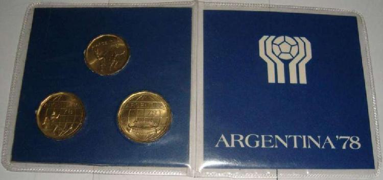 Blister 3 monedas fútbol conmemorativas del mundial 78, con