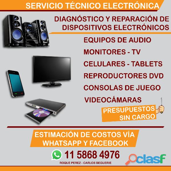 Técnico electrónico Tv audio video celulares Roque Pérez