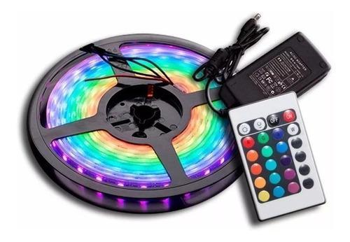 Kit tira led rgb 5050 multicolor exterior 5 m fuente control