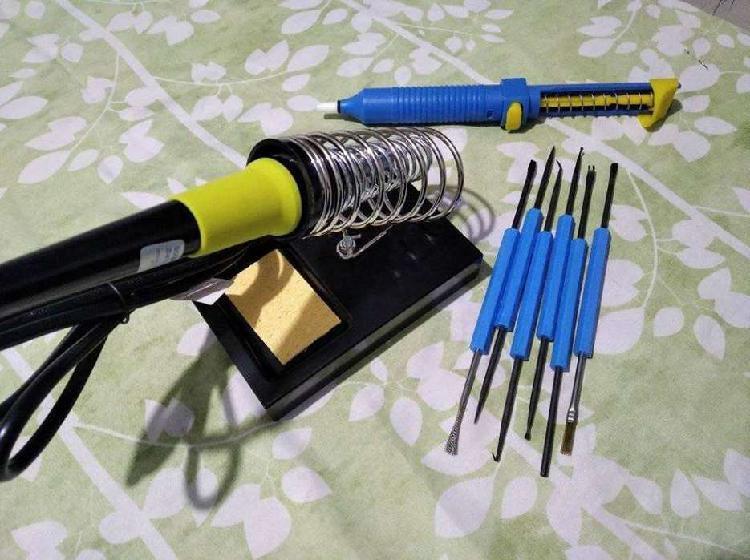 Kit (soporte para soldador + kit de limpieza para soldar +