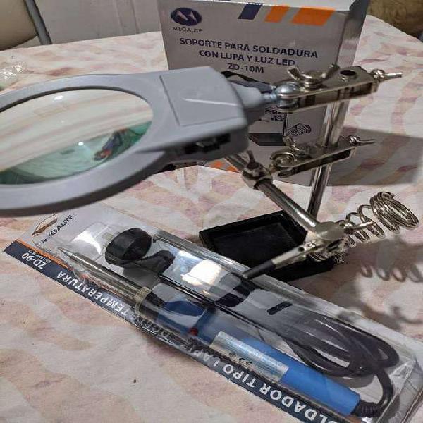 Kit (soporte para soldador con lupa y luz led + soldador