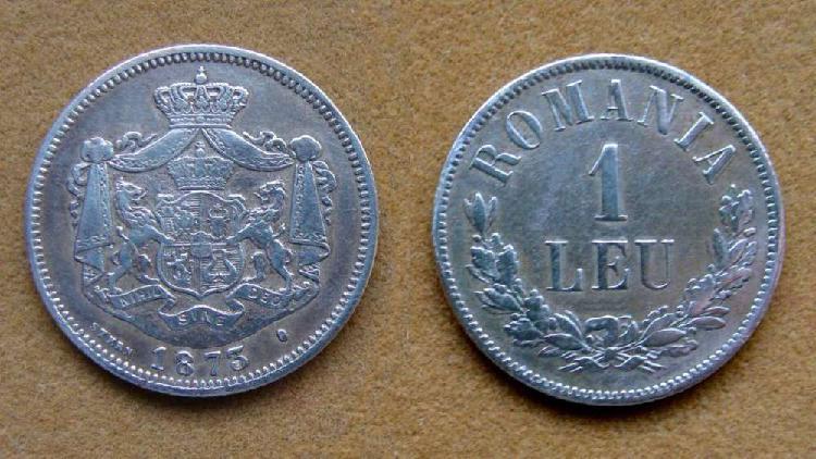 Moneda de 1 leu de plata rumania 1873
